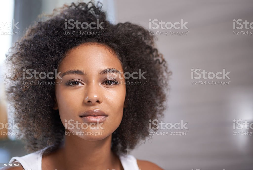 Her confidence only adds to her beauty stock photo