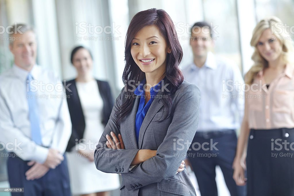 Her expertise stands out stock photo