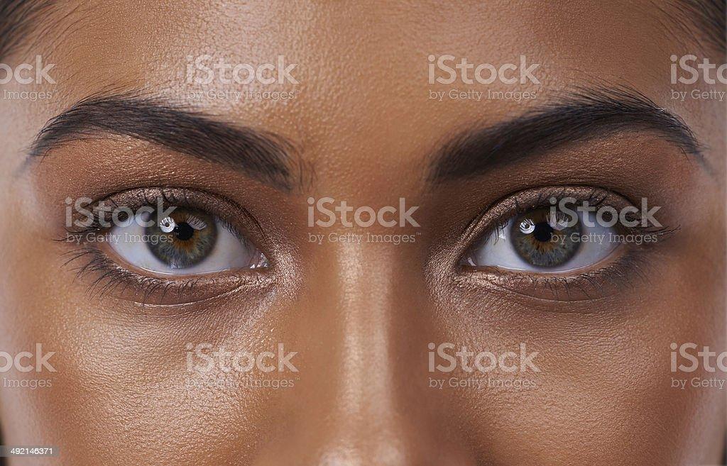 Her eyes reveal inner beauty stock photo