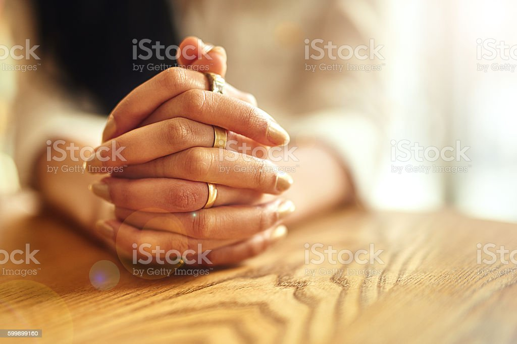 Her faith runs deep stock photo