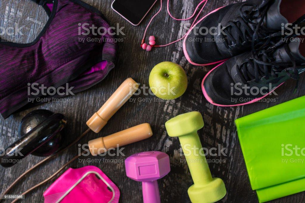 Her favorite fitness stuff stock photo