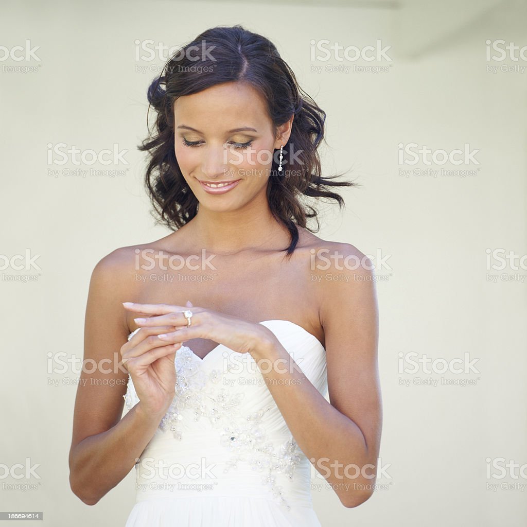 Her favorite piece of jewelry royalty-free stock photo
