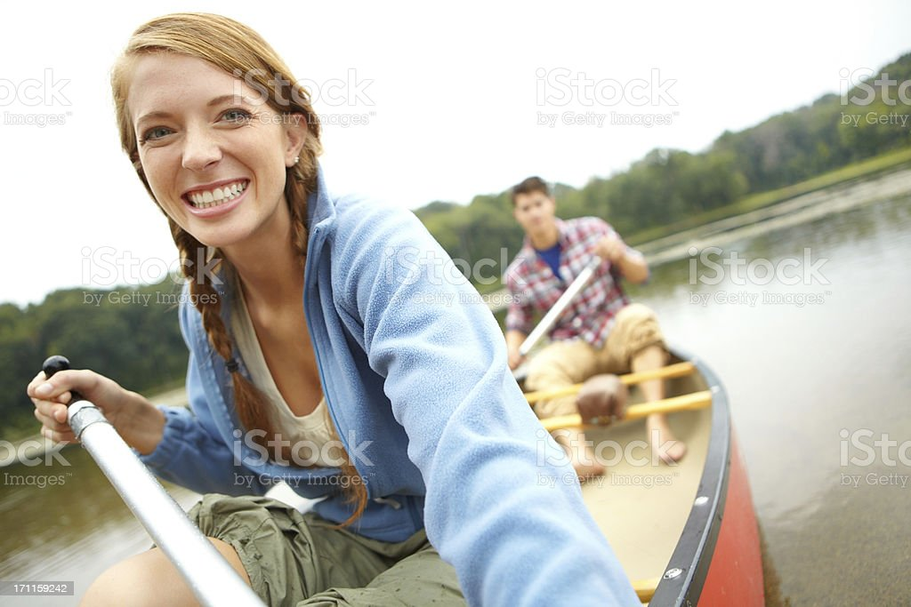 Her favourite kind of getaway - Copyspace stock photo
