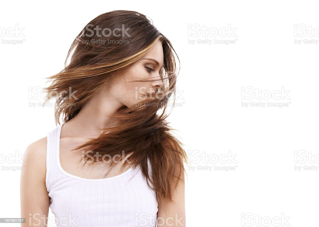 Her hair is filled with body and life! stock photo