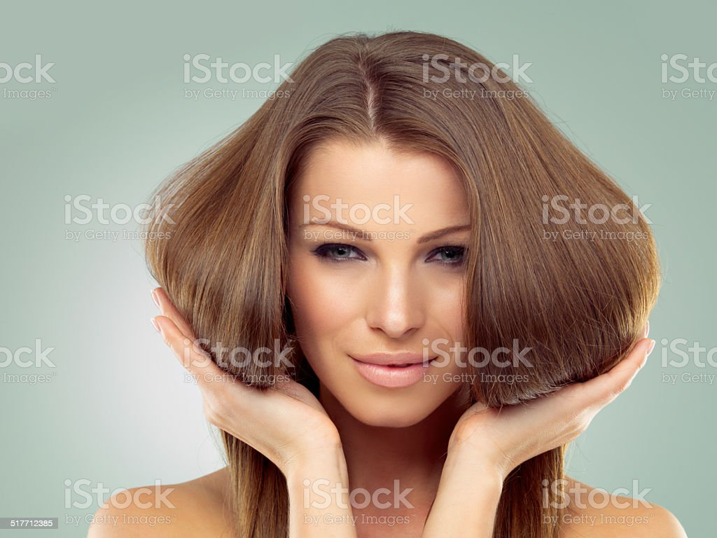 Her hair's got great volume stock photo