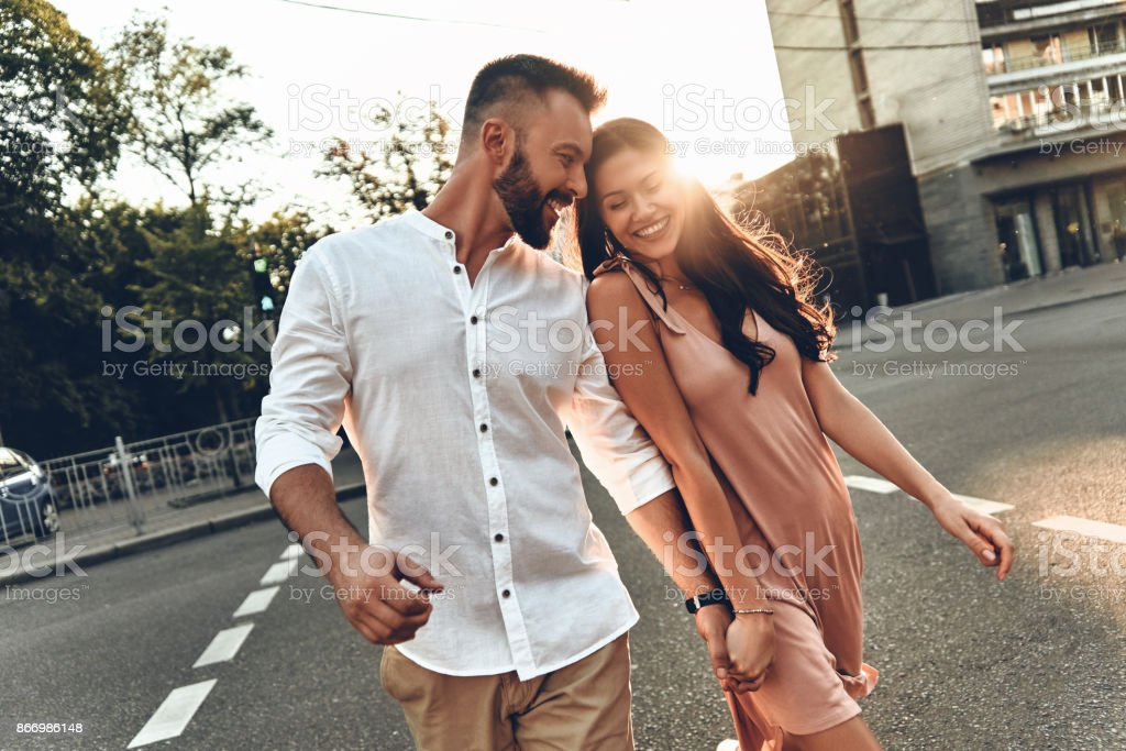 Her happiness is everything to him. stock photo