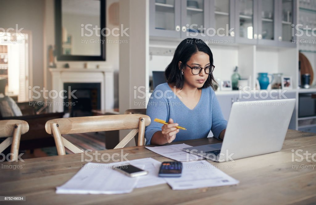 Her home is a place for productivity stock photo