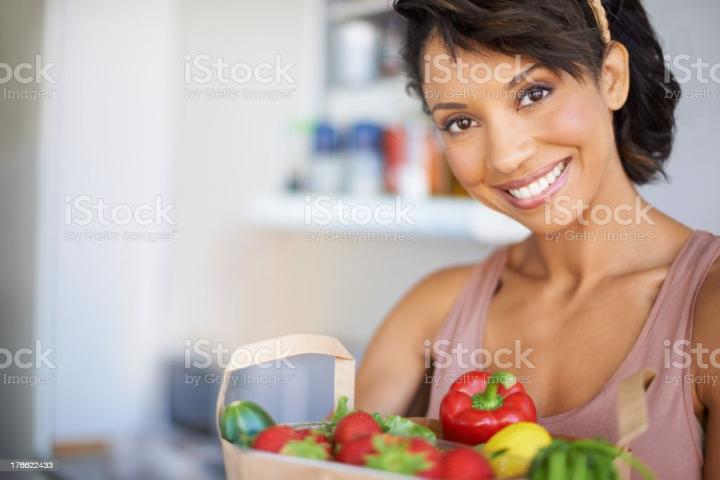 Her kitchen has only the freshest ingredients royalty-free stock photo