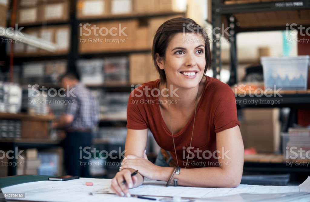 Her mind creates entrepreneurial success stock photo
