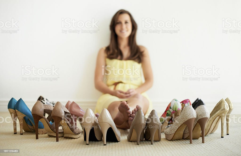 Her shoe collection is impressive royalty-free stock photo