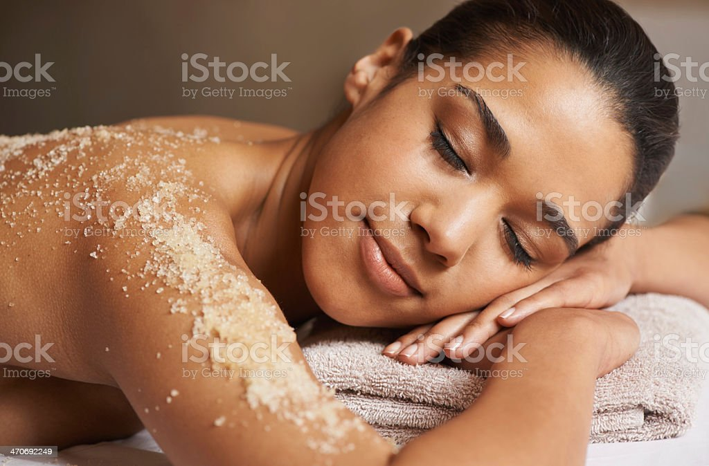Her skin is going to be glowing after this stock photo