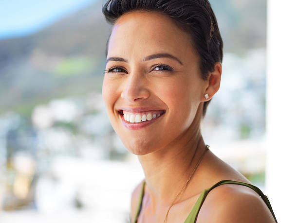 Her smile brightens everyone's day stock photo