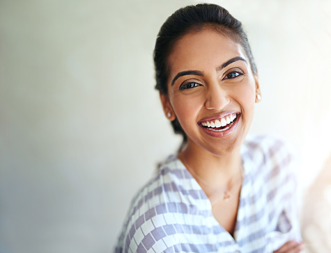 629077968 istock photo Her smile, filled with positivity 629077186