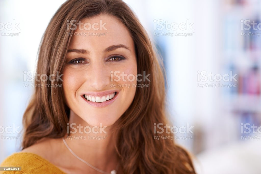 Her smile makes the day seem brighter stock photo