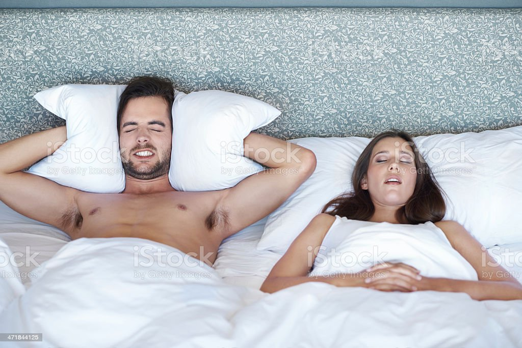 Her snoring is unbearable royalty-free stock photo