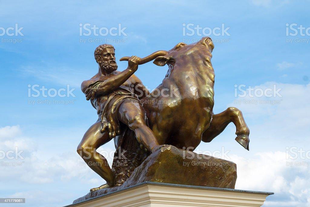 Heracles Taming The Creatan Bull royalty-free stock photo