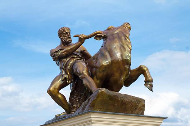 Heracles Taming The Creatan Bull stock photo