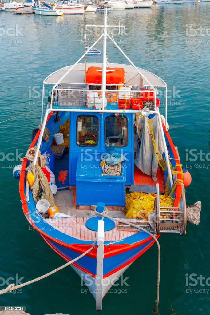 Heraklion. Fishing boat in the old port. stock photo