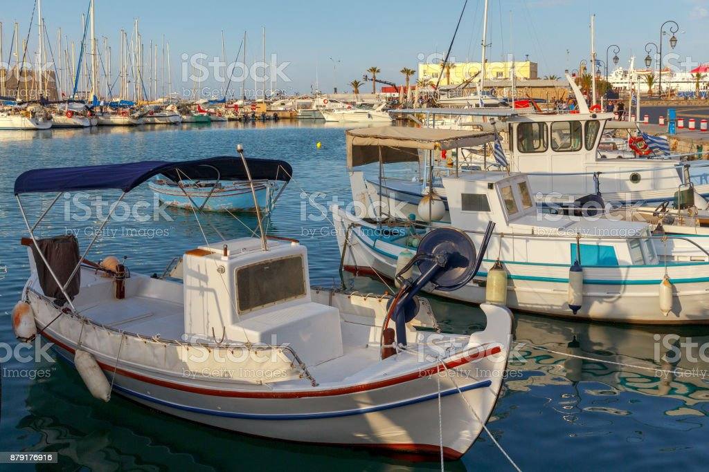 Heraklion. Fishing boats in the old port. stock photo