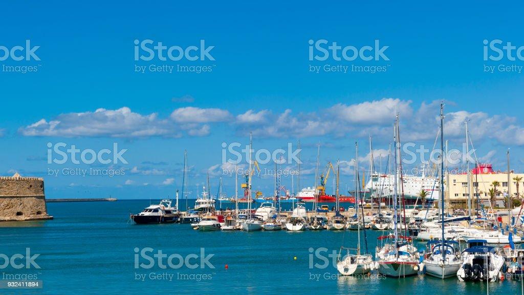 Heraklion harbour with old venetian fort, Crete, Greece stock photo