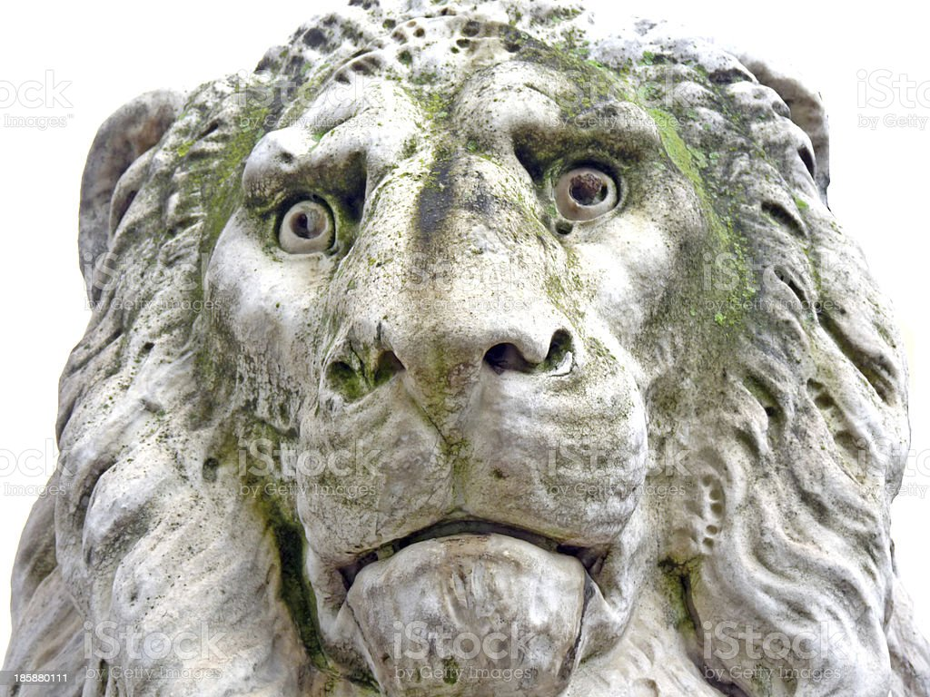 Heraldic Lion at the Base of Dante's Monument, Florence, Italy stock photo