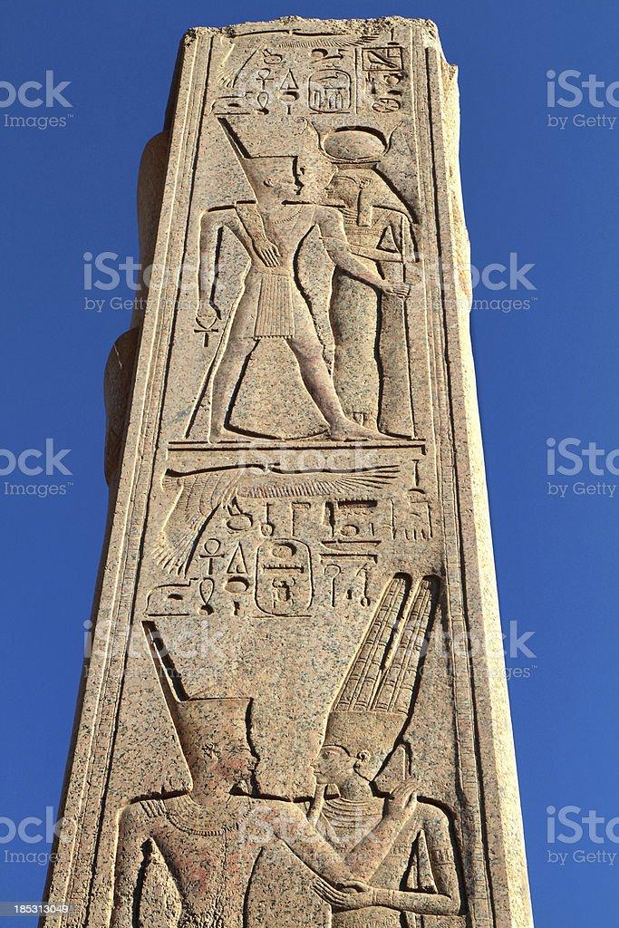 Heraldic Pillar, Great Temple of Amun, Karnak, Egypt. stock photo