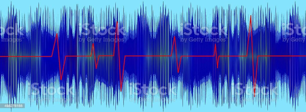 Heratbeet red line on turquoise electrocardiogram screen. stock photo