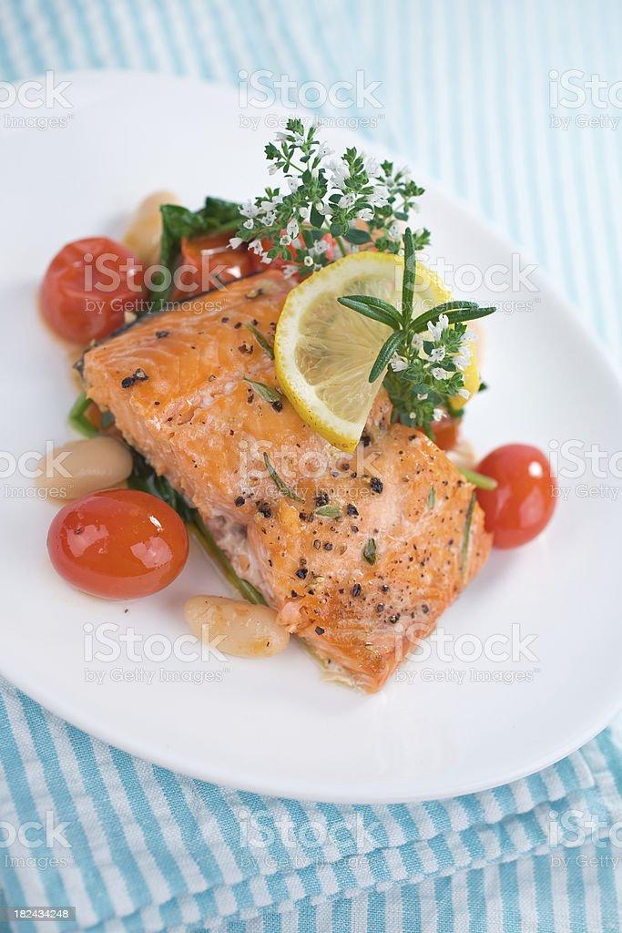 Herb Baked Salmon royalty-free stock photo