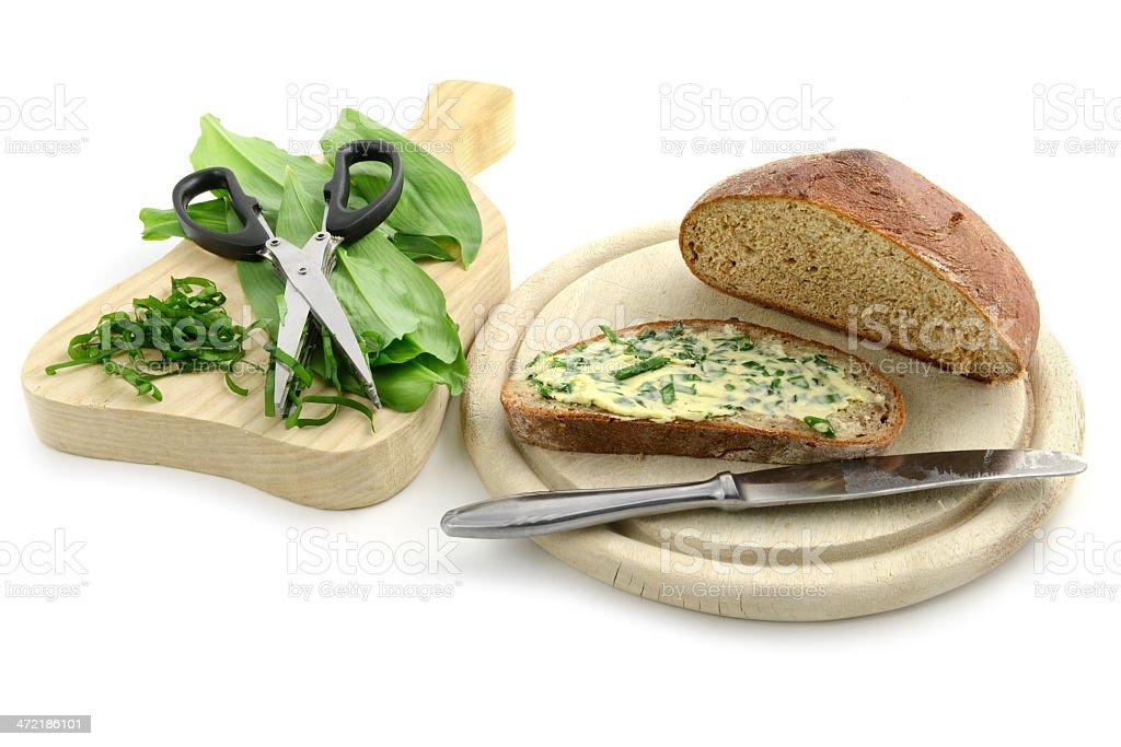 herb butter wild garlic (Allium ursinum) on bread stock photo