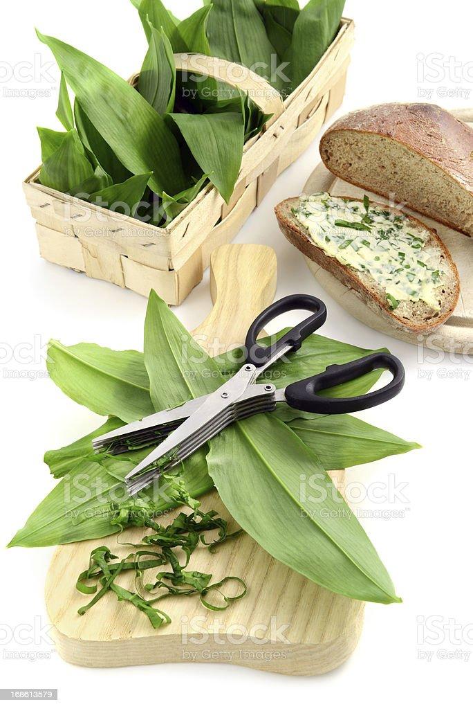 herb butter wild garlic (Allium ursinum) on slice of bread stock photo