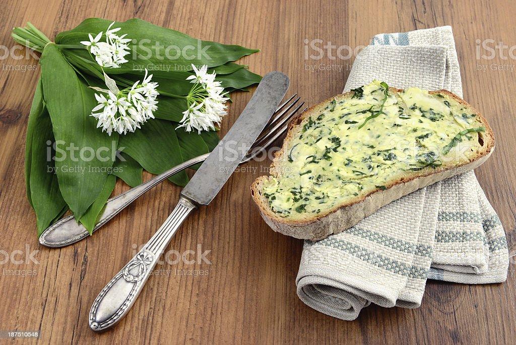 herb butter wild garlic (Allium ursinum) stock photo