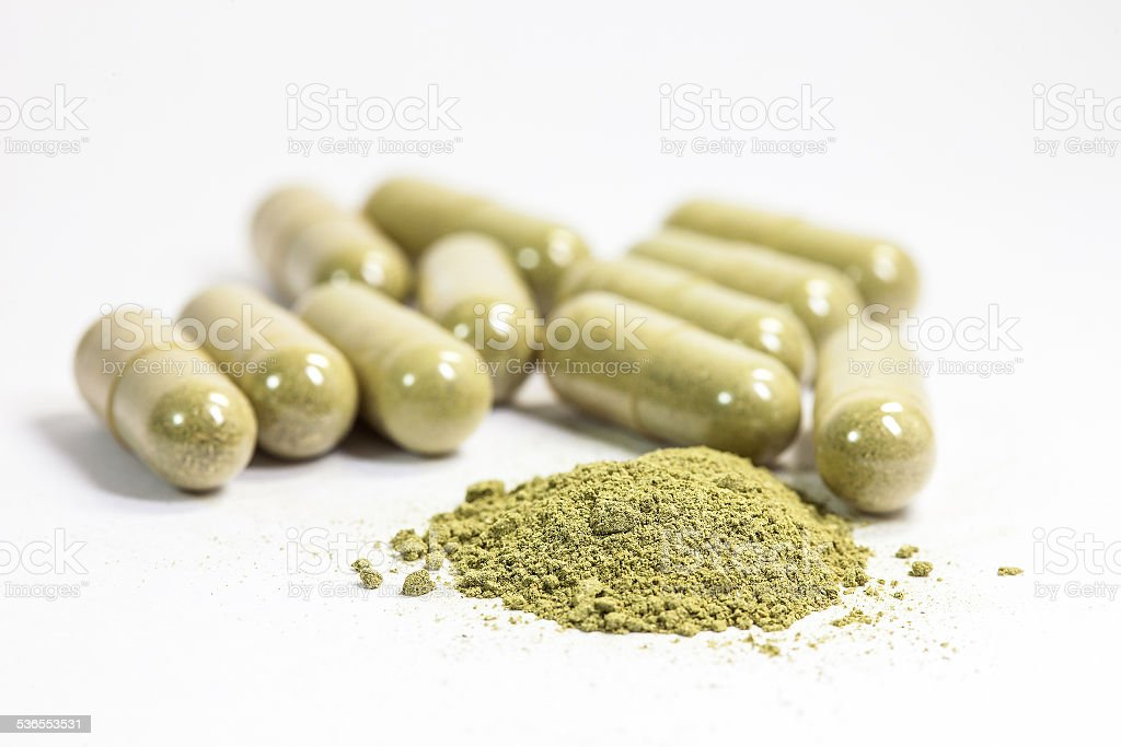 Herb capsule. stock photo