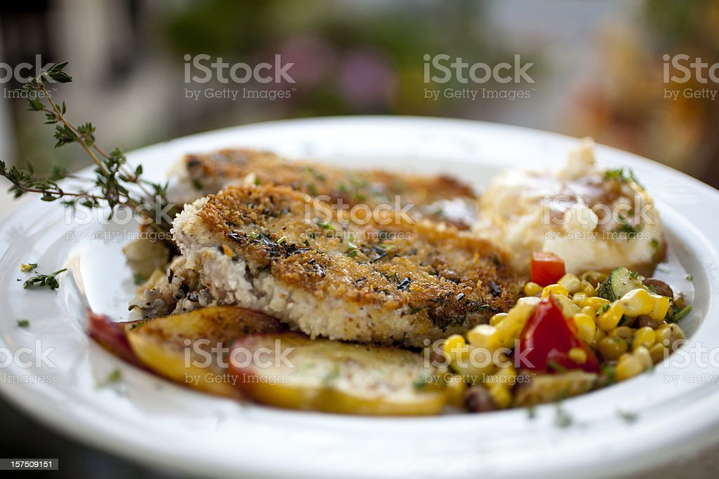 Herb Crusted Pork Chop royalty-free stock photo