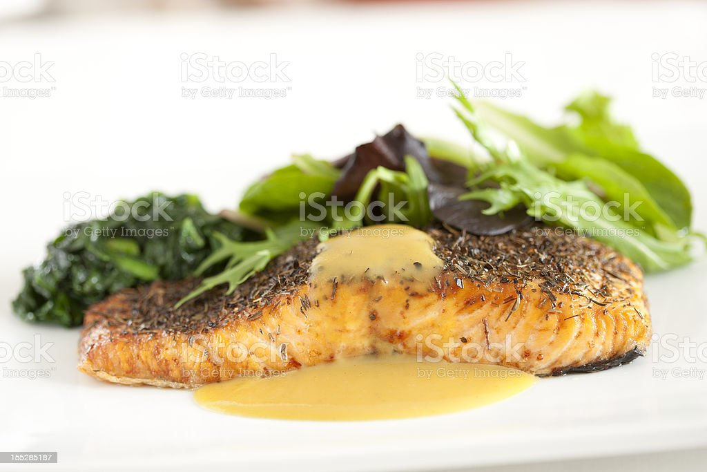 Herb Crusted Salmon stock photo