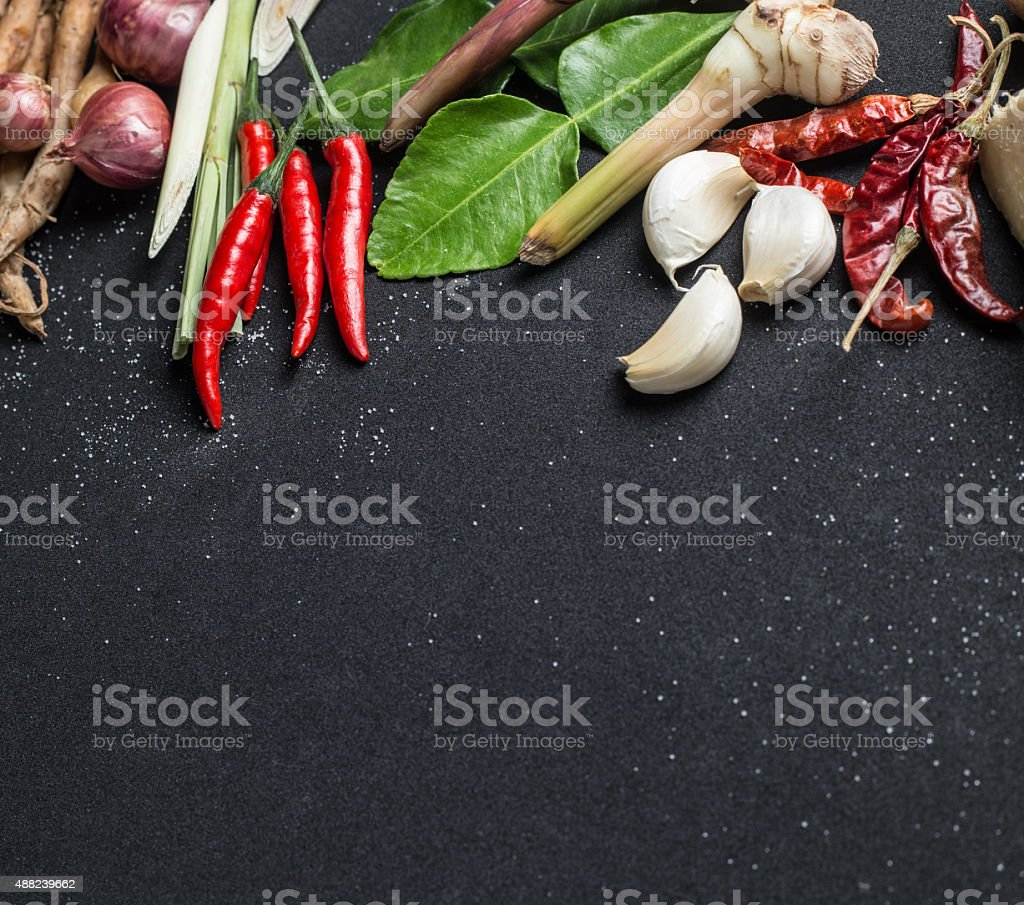 Herb ingredient of Tom Yum spicy soup Traditional Thai food stock photo