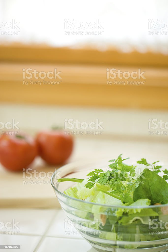Herb salad of chervil and fresh tomato stock photo