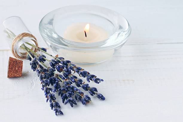 herbal aromatherapy. lavender at home. - blue table setting stock photos and pictures