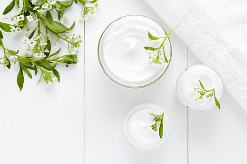 Kräuter Bodycare Kosmetische Hygienischen Creme Mit Blumen Stockfoto und mehr Bilder von Alternative Behandlungsmethode