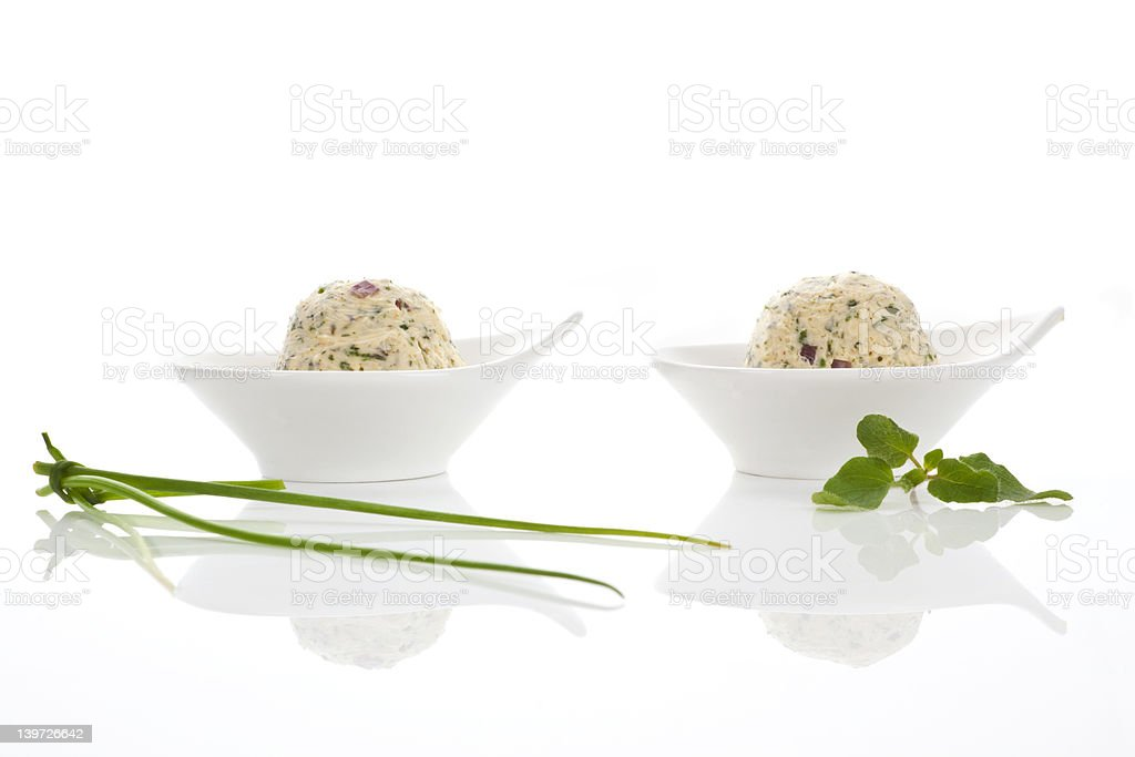Herbal butter in two bowls. royalty-free stock photo