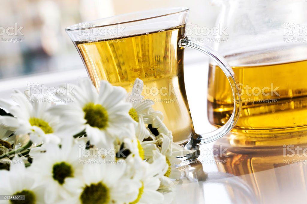 Herbal chamomile tea in a glass cup and glass teapot with fresh chamomile herbs zbiór zdjęć royalty-free