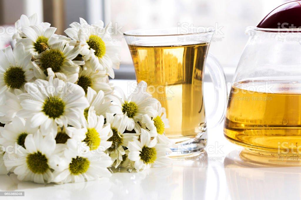 유리 컵과 유리 주전자 신선한 카모마일 허브에서 허브 카모마일 차 - 로열티 프리 건강관리와 의술 스톡 사진