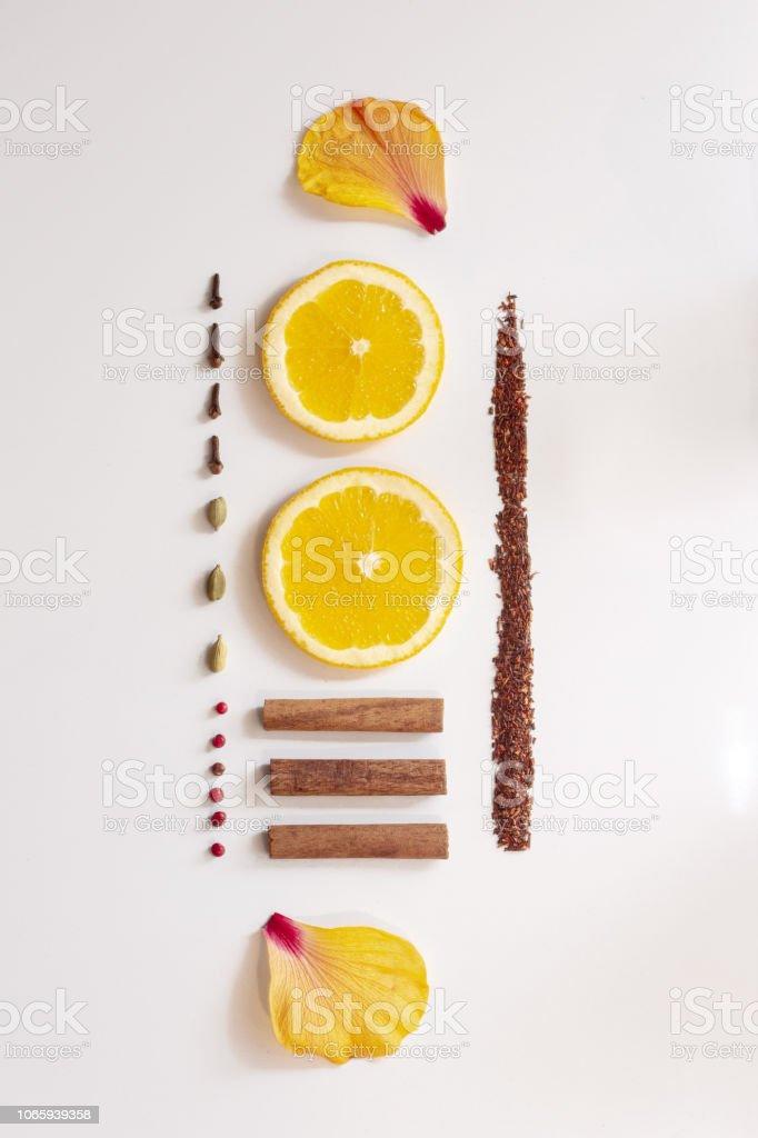 Herbal christmas tea ingredients stock photo