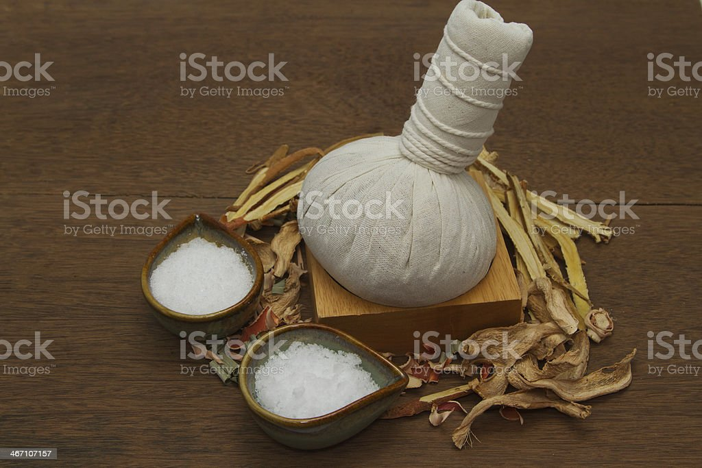 Herbal compress ball for spa aroma treatment royalty-free stock photo