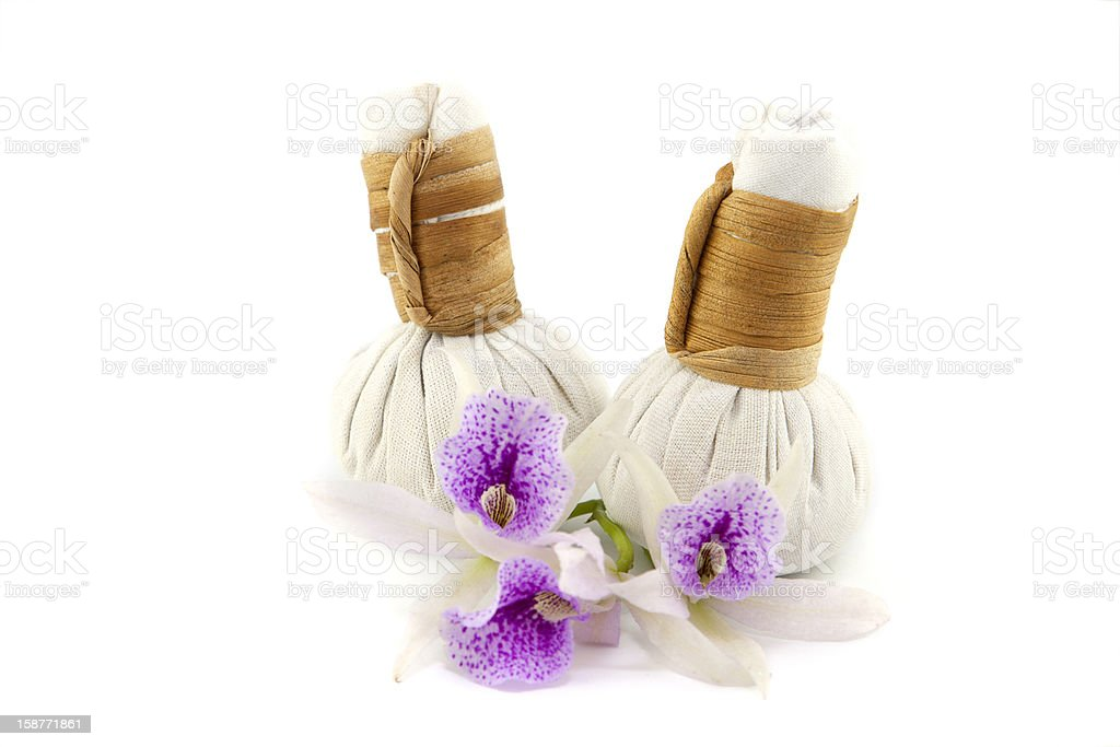 Herbal Compress with orchid flower royalty-free stock photo