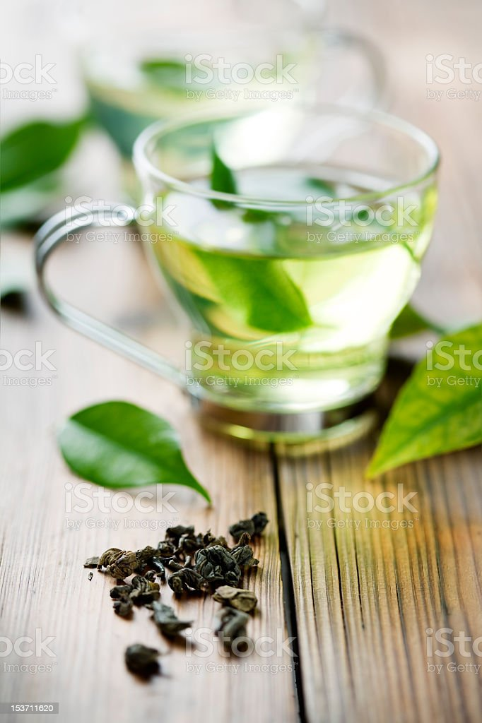 Herbal green tea with mint leaves in the tea stock photo