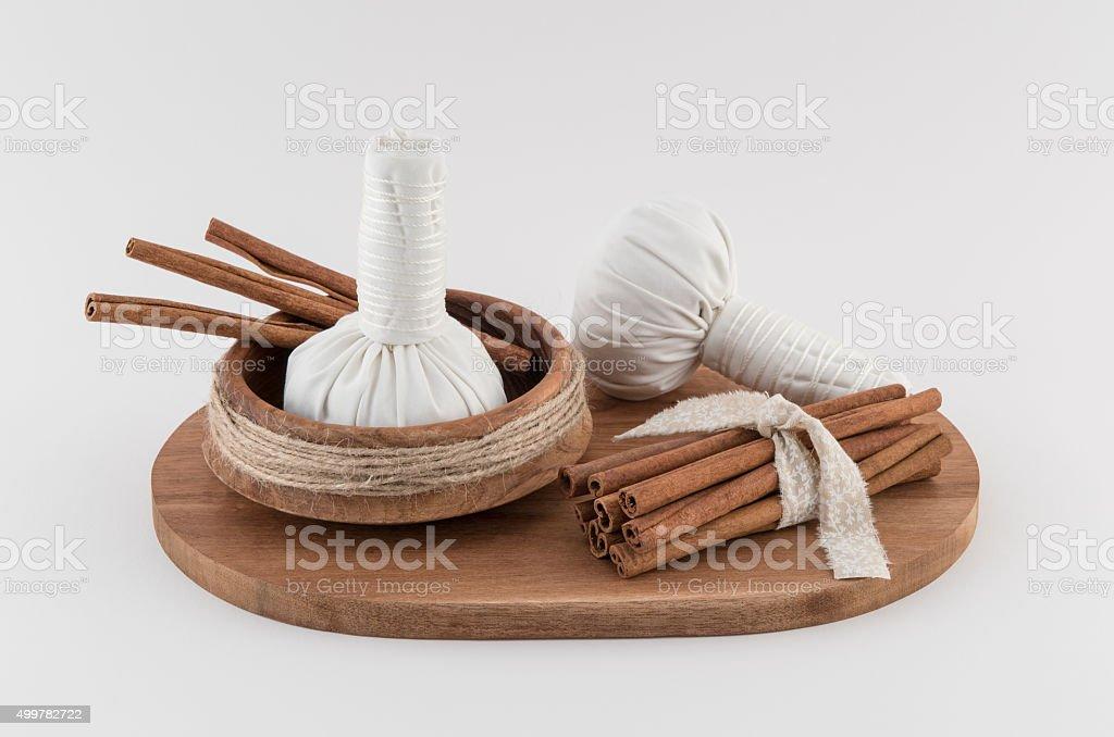 Herbal Massage Balls and Cinnamon stock photo