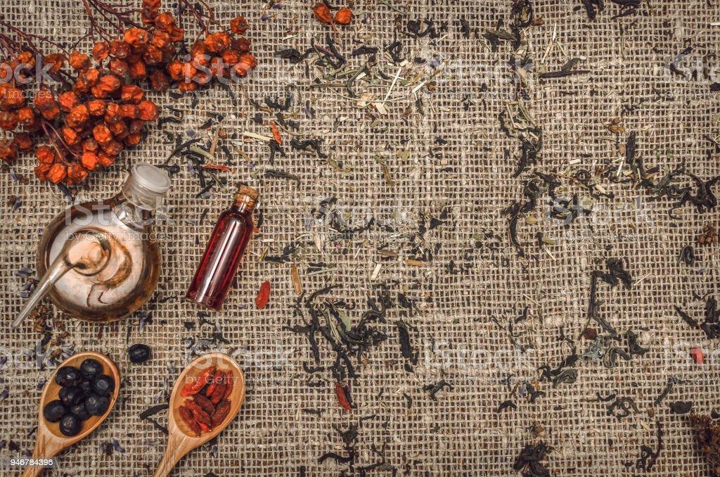 Herbal medicine concept. Alternative medicine. Dry curative wild...