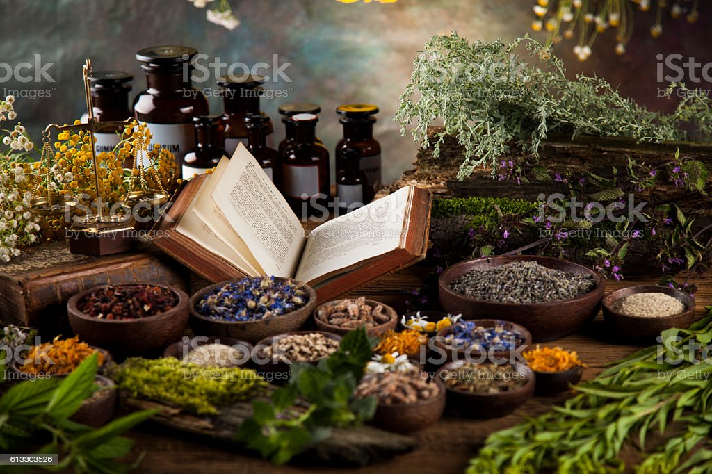 Herbal medicine and book on wooden table background stock photo