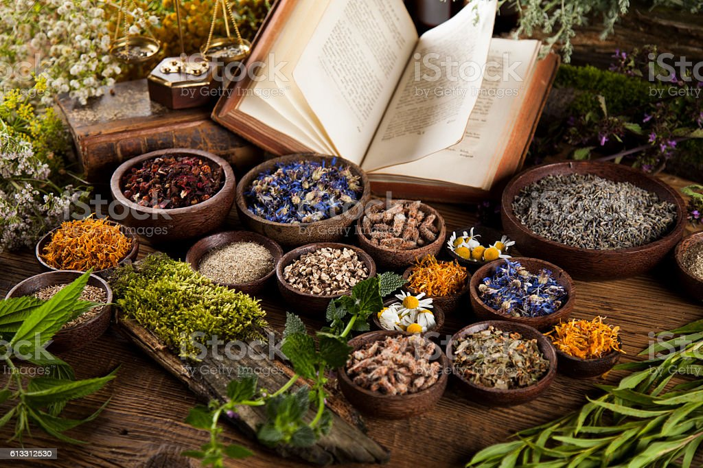 Herbal medicine and book on wooden table background - Photo