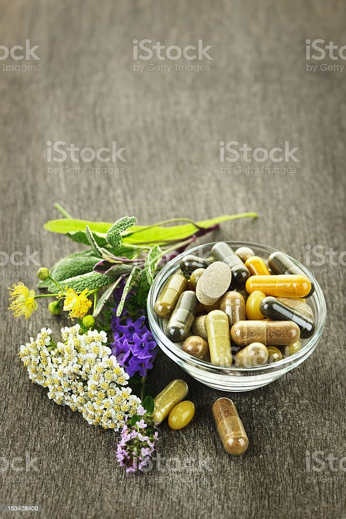Herbal medicine and herbs stock photo